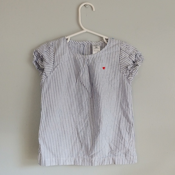 Carter's Other - Carter's white + blue striped blouse